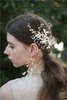 Gold Leaves Floral Beautiful Antique Bride Tiara Hairpin Earrings Set