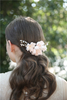 Wedding Jewelry Pink Flower Material Rhinestone Wedding Bridal Hair Comb