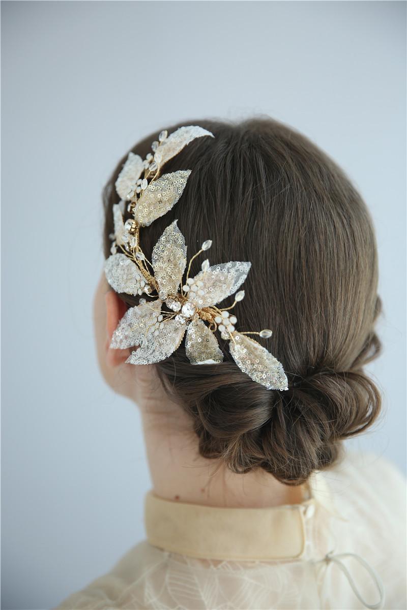 Custom Personalized Bridal Hairbands Floral Leaf Wedding Hair Clips
