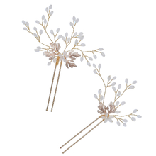 Leaf Wedding Pearl Hairband Handmade Bridal Women Crystal Headpiece Hair Pins