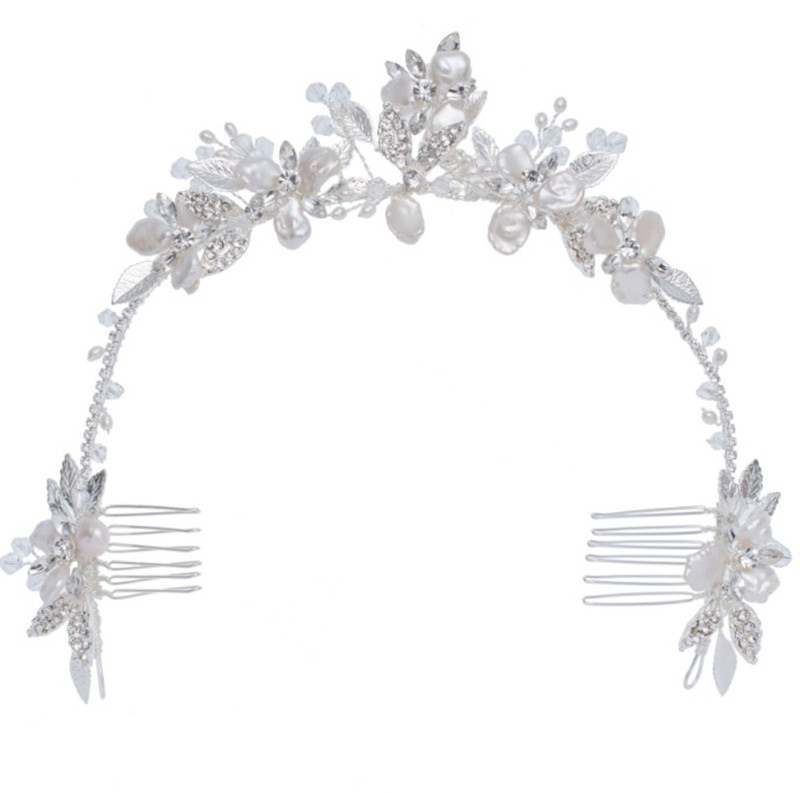 Handmade Headdress Silver Leaf Flower Crystal Hairbands Crown Shell Floral Hair Combs For Women