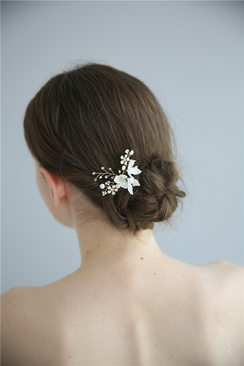 Handmade Gold Pearl Crystal Wedding Hair Accessories Bridal Hair Pin