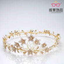 New Design Wedding Hair Accessories Crystal Rhinestone Pearl Bridal Tiara Crown for Women