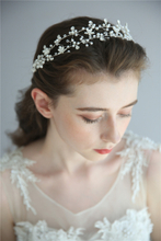 Crystal Flower Bridal Accessories Hairband Handmade Silver Fancy Pearl Headpieces