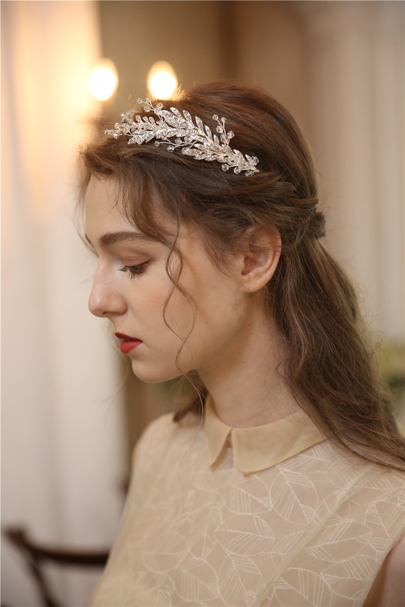 High Quality Shiny Silver Leaves Design Wedding Party Bridal Tiara Crown