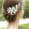Handmade Crystal Silver Leaf Hairband Bridal Accessories Jewelry Wedding Women Fancy Hair Clips