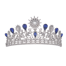 High Quality Noble Luxury Blur Rhinestone Bridal Wedding Tiara Crowns