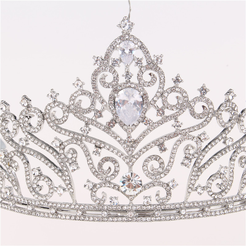 Tiaras Hair Accessories Fashion Silver Bridal Wedding Hair Alloy Crystal Crown