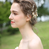 Handmade Gold Leaf Crystals Rhinestones Flower Wedding Jewelry Accessories Bridal Pearl Barrettes Hair Clip For Women