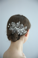 Bridal Silver Lace Flower Handmade Wedding Hair Combs For Women