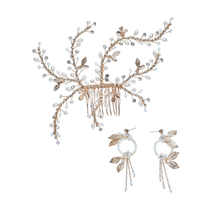European Wedding Bridal Hair Comb Crystal Earring Beautiful Jewelry Set