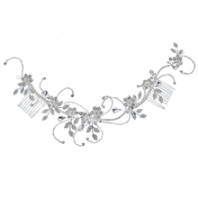 Floral Crystal Pearl Rhinestones Silver Bridal Hair Comb For Woman