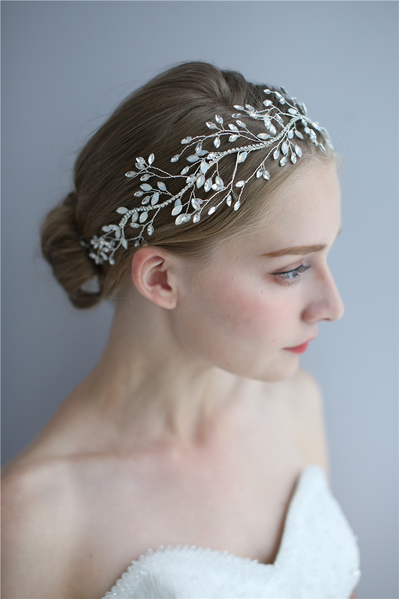 Good Quality Bridal Silver Flower Hair Jewelry Wedding Crystal Headpiece For Women