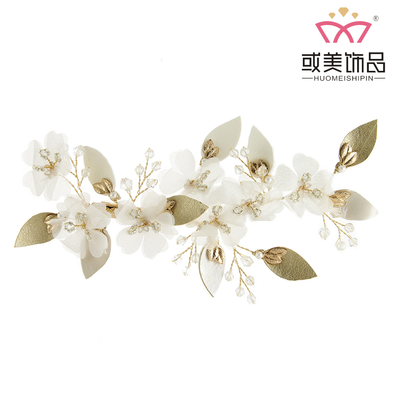 Fashion Flower Beautiful Crystal Gold Leaves Headdress Bridal Hair Clips