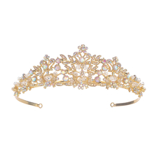Champagne Color Luxury Zinc Alloy Luxury Crystal Diamond Bride Crown
