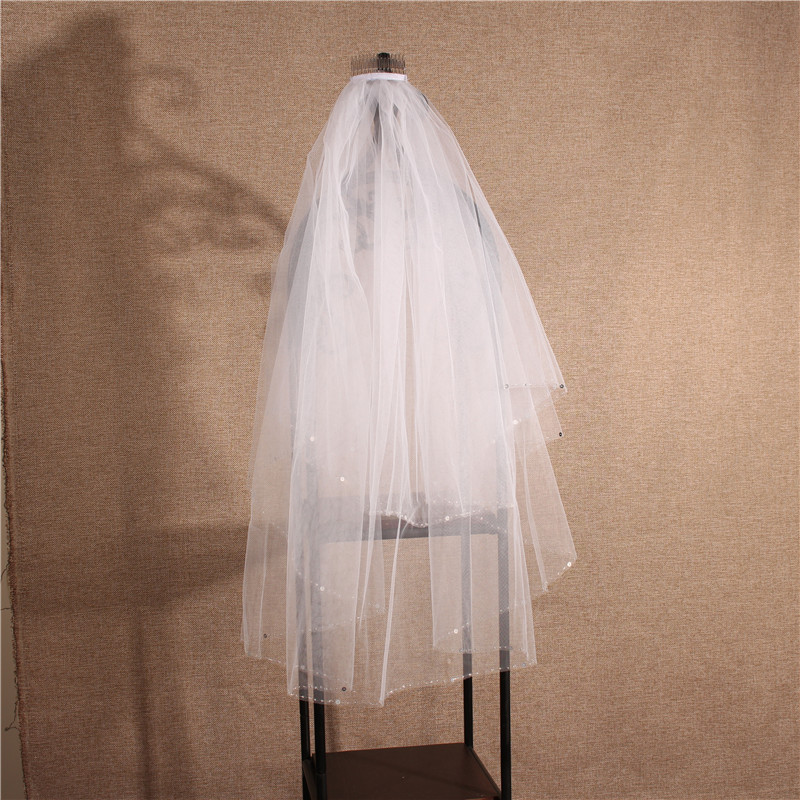 Beautiful Four Layers Simple Elegant Bright Wedding Bridal Veils With Comb
