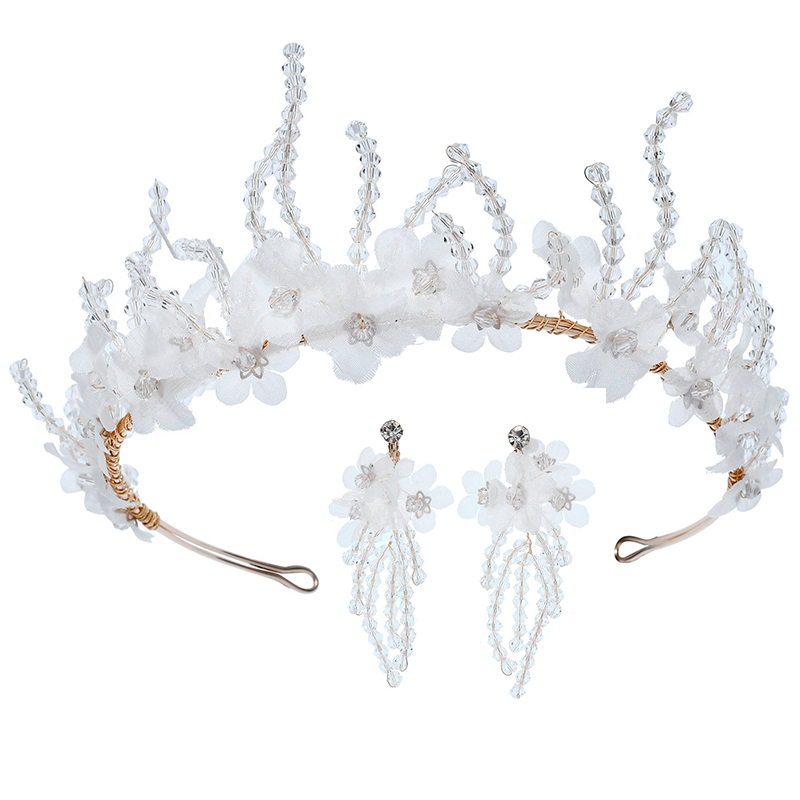 Crystal White Flower Bride Accessories Crown Earrings Jewelry Set