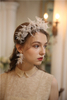Handmade Lace Leaf Crystal Earring Crown Wedding Bridal Jewelry Set