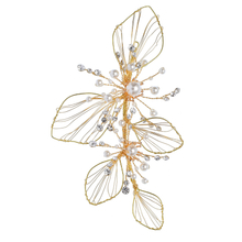 Wedding Women Headdress Jewelry Hairband Gold Leaf Style Bridal Crystal Hair Clip