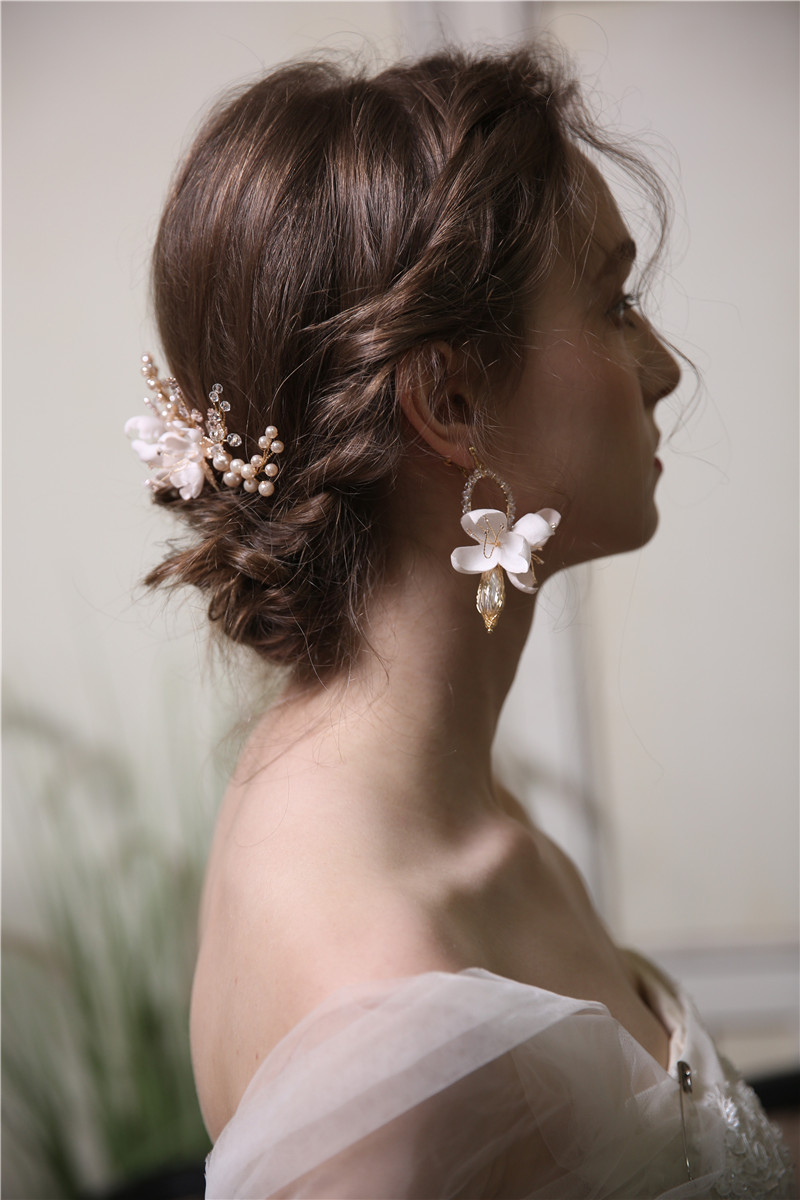 Pink Flower Eco-friendly Material Decorative Hair Combs Fashion Drop Earrings