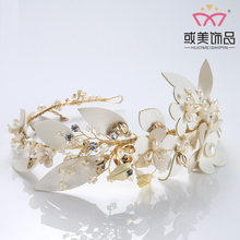 Luxury Handmade Leather Leaf Crystal Hair Accessories Jewelry Headband Bridal Wedding Hair Vine Tiara