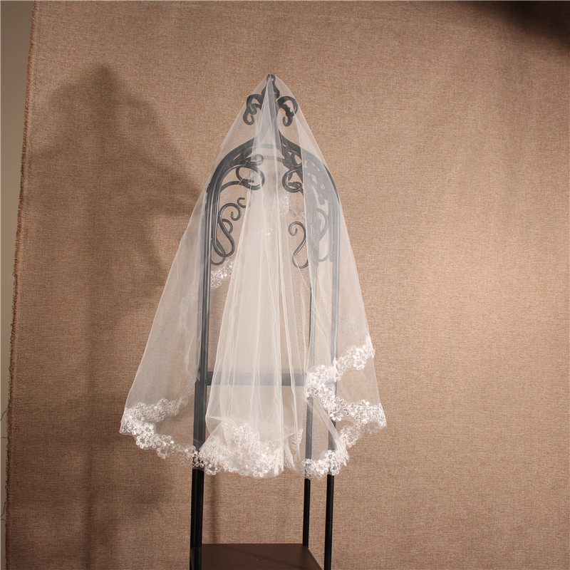 Simple Cheap Lace Wedding Veil Short One Layer White Bridal Veil