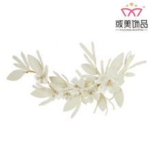 Wholesale Handmade Bridal Skin Flower Princess Side Headband Accessories Wedding Jewelry Hair Clip For Women