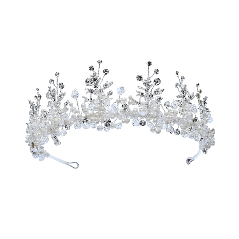 Silver Flower Bridal Dress Hair Accessories Crown Wedding Necklace Earring Set