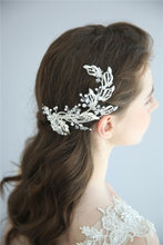 Fashion Handmade Silver Leaves Fancy Wedding Barrettes Bridal Crystals Hair Clips