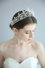 High Quality Freshwater Pearls Beaded Bridal Fashion Wedding Tiara Crystal Crown