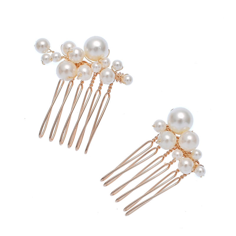 Handmade Pearls Bridal Hairband Headdress Fashion Women Party Prom Hair Combs Set
