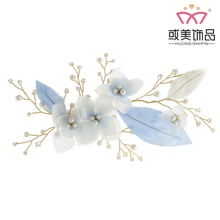New Designs Bridal Blue Silk Fancy Hair Jewelry Accessories Bridal Hair Clips