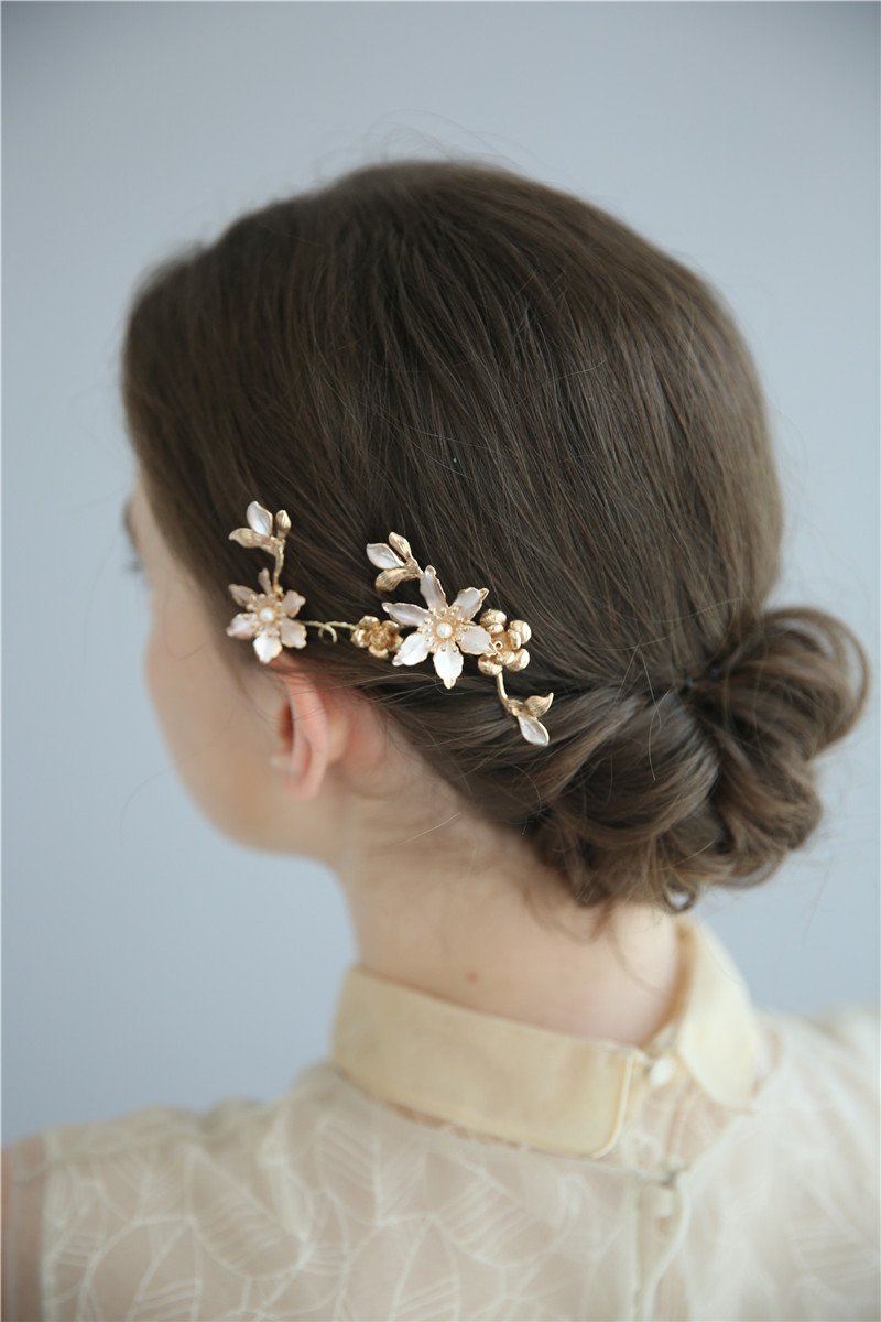Gold Floral Pearl Hair Jewelry Handmade Headwear Bridal Wedding Hair Pin