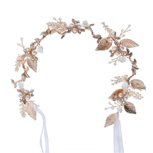 Hair Accessories Wedding Headdress Headband Metal Gold Leaves Hairband Pearl Crystal Headpiece