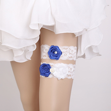 Fashion Blue Rose Flower Decoration White Lace Bride Sexy Garter