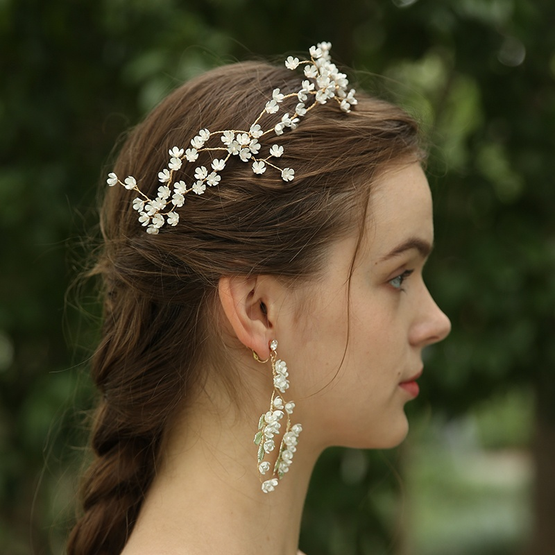 Handmade White Flower Wedding Bridal Hairband Crystal Hairpiece D2391 (5)