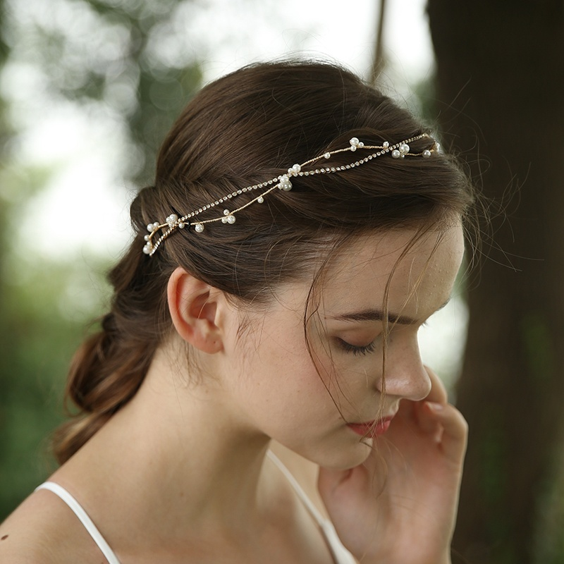 Handmade Simple Rhinestone Pearl Chain Twisted Vine Bridal Headband