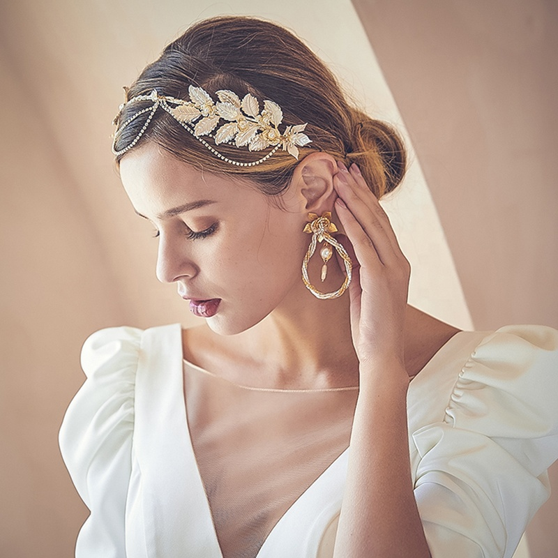 Bridal Glamous Leaves Head Jewelry Gold Hair Crown Chain Tiaras Twisted Circle Earrings Jewelry Set