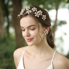 Beautiful Wedding Copper Flowers Headband Earrings Jewelry Sets For Women