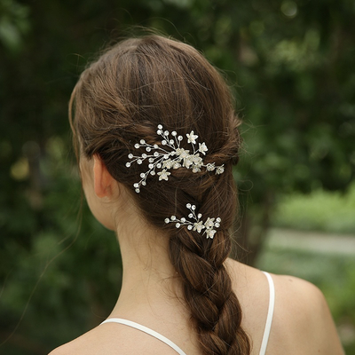 Customized Bridal Rhinestone Flower Hair Comb Hairclip Jewelry Headpiece Set