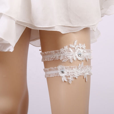 2020 Wedding Accessories 2 Pcs White Lace Flower Pearl Garter Applique Sexy Leg Belts Garters