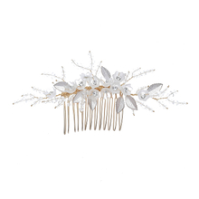 Elegant Handmade Hair Accessories Rhinestone Wedding Bride Flash Headdress Metal Leaves Flower Crystal Side Comb