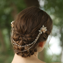 2020 New Chain Design Bridal Jeweled Rhinestone Flower Veil Hair Comb