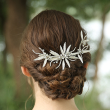 Modern Custom Silver Leaves Rhinestone Hair Barrette Clips