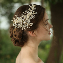 Latest Design Rhinestones Gold Tone Flower Bridal Headpiece