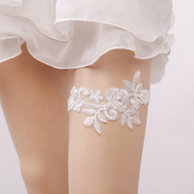 Simple White Lace Flower Small Pearl Hanging Bride Lingerie Garter