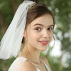 Western Pop Style White Wedding Veil Bridal Lace Rhinestone Bridal Short Veil
