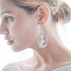 Handmade Bride Shell Flower Simple Silver Hoop Earring Wedding Bridal Imitation Pearl Earrings