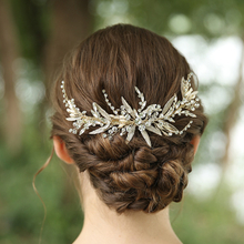 Custom Gold Rhinestone Leaves Barrette Hair Clips Bridal Accessories