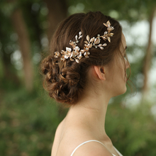 High Quality Custom Handmade Metal Leaf & Flower Bridal Hairpiece